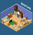nanny child bedtime isometric composition vector image vector image