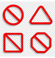 no signs forbidden red signs isolated on vector image