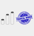 pixelated cylinder chart icon and grunge vector image vector image