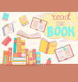 read book concept close and open books vector image