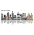 sacramento california city skyline with gray vector image vector image