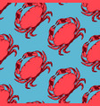 seafood seamless pattern with red crab vector image vector image