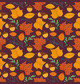 seamless repeating pattern with leaves acorns vector image vector image