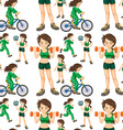 Seamless woman doing exercises vector image