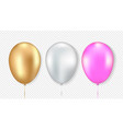 set golden white and pink balloon vector image vector image