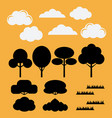 set of silhouettes flat trees bushesgrass and vector image vector image