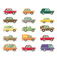set of vintage cars flat style vector image vector image