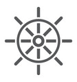 ship steering wheel glyph icon navigator vector image