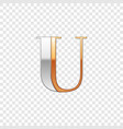 Silver and gold font symbol alphabet letter u