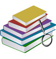 stack books with magnifier vector image