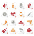 stylized mexico and mexican culture icons vector image