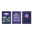 summer cards set jellyfish poster banner vector image vector image