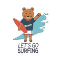 surfer bear with surf board and waves vector image