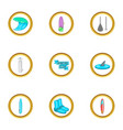 surfing club icons set cartoon style vector image vector image