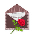 thank you card and rose flower on dark envelope vector image vector image