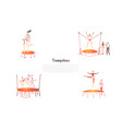 trampolines - happy people jumping vector image vector image