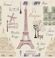 travel paris city seamless pattern europe famous vector image vector image