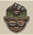 vintage summer adventure colorful label vector image vector image