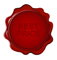 Wax seal with text Best price vector image vector image