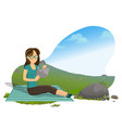 woman reading book on nature sitting on blanket vector image