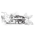 wooden house natural insulator vintage engraving vector image