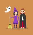 halloween trick or treat set flat set of vector image