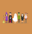 halloween characters set witch dracula ghost vector image