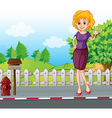 A woman at the street near the wooden mailbox vector image vector image