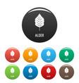 alder leaf icons set color vector image vector image