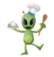 alien chef on white background vector image