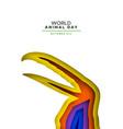 animal day color papercut card wild toucan bird