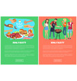 bbq party collection web pages vector image vector image