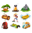camp and adventure 3d icons set vector image vector image