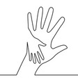 caring hand continuous line drawing concept vector image