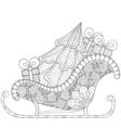 christmas sledges santa with tree vector image