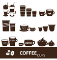 coffee cups and mugs sizes variations icons set vector image