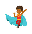 comic brave kid in superhero red costume with mask vector image vector image