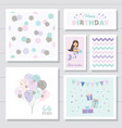 cute birthday cards set for girls with glitter vector image vector image