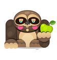 cute cartoon sloth sitting cartoon animal vector image