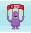 cute little monster standing with a red banner vector image