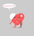 damaged heartbroken heart character cartoon vector image