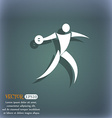 Discus thrower icon On the blue-green abstract vector image