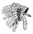 dotwork style hat with indian feather grunge vector image