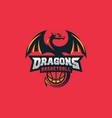 dragon basketball design concept template vector image