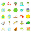 eco icons set cartoon style vector image vector image