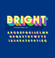 extra bright 3d display font design alphabet vector image vector image