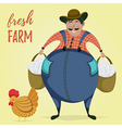 farmer with chicken and eggs vector image vector image
