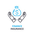 finance insurance concept outline icon linear vector image vector image