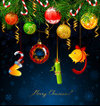 funny numbers new year hanging from fir vector image