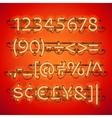 glowing neon red numbers vector image vector image